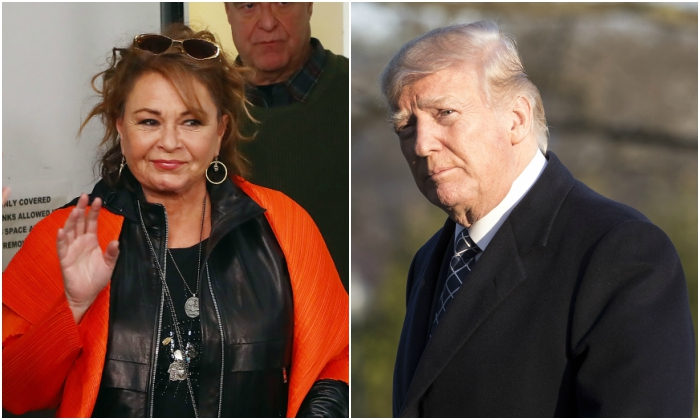 Actress Roseanne Barr. (Astrid Stawiarz/Getty Images for SiriusXM) President Donald Trump. (Samira Bouaou/Epoch Times)