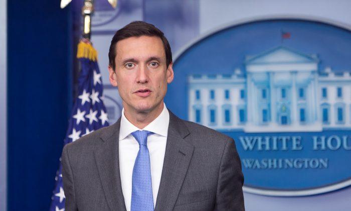 Tom Bossert, Homeland Security advisor, updates reporters about relief for Puerto Rico at the White House, Washington, on Sept. 28, 2017. (Samira Bouaou/The Epoch Times)