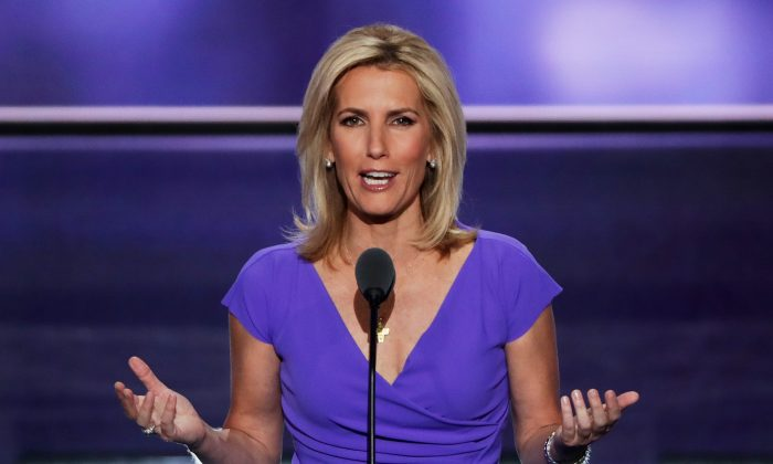 CLEVELAND, OH - JULY 20:  Political talk radio host Laura Ingraham delivers a speech on the third day of the Republican National Convention on July 20, 2016 at the Quicken Loans Arena in Cleveland, Ohio. (Photo by Alex Wong/Getty Images)
