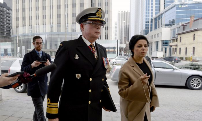 Vice-Admiral Mark Norman arrives with his lawyer Marie Henein for his first court appearance on charges of breach of trust in Ottawa on April 10, 2018. (Justin Tang/The Canadian Press)