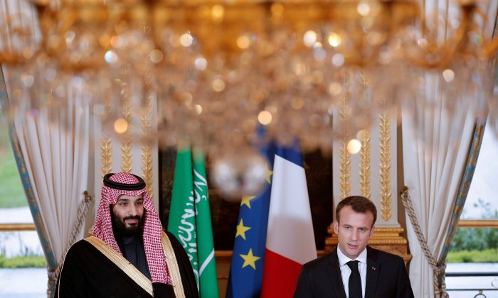 French President Emmanuel Macron and Saudi Arabia's Crown Prince Mohammed bin Salman attend a press conference at the Elysee Palace in Paris on Apr. 10, 2018.  (Yoan Valat/Pool via Reuters)