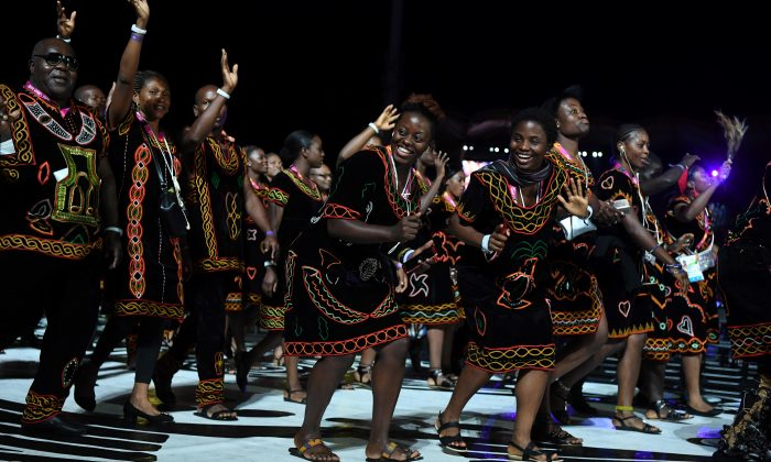 Members of the Cameroon delegation take part in the opening ceremony of the 2018 Gold Coast Commonwealth Games at the Carrara Stadium on the Gold Coast on April 4, 2018. (WILLIAM WEST/AFP/Getty Images)
