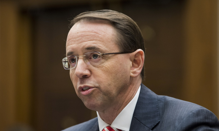 Deputy Attorney General Rod Rosenstein testifies before the House Judiciary Committee about Special Counsel Robert Mueller's investigation of Russia's alleged election interference in 2016, in Washington on Dec. 13, 2017. (Samira Bouaou/The Epoch Times)