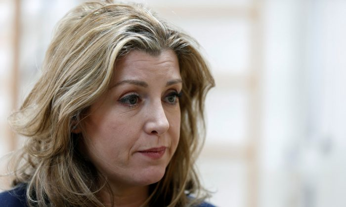 Britain's Secretary of State for International Development Penny Mordaunt speaks to Reuters reporter during her visit to a rehabilitation centre in Rusaifa city, Jordan, April 10, 2018. (Re/Muhammad Hamed)