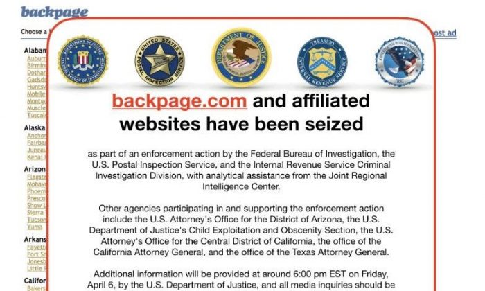 This screen grab image obtained April 9, 2018 shows backpage.com and affiliated websites that have been seized by the FBI in Washington,DC. (-/AFP/Getty Images)