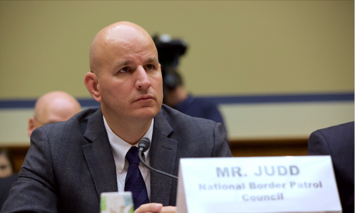 Brandon Judd, president, National Border Patrol Council, testifies at a House Subcommittee on National Security hearing on April 12, 2018. (Charlotte Cuthbertson/The Epoch Times)