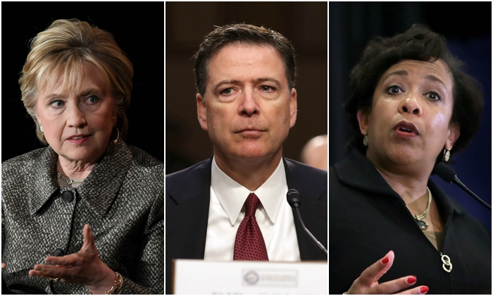 Former Secretary of State Hillary Clinton (ANGELA WEISS/AFP/Getty Images) Former FBI Director James Comey, Former Attorney General Loretta Lynch (Chip Somodevilla/Getty Images)