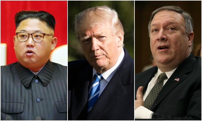 North Korean dictator Kim Jong Un; U.S. President Donald Trump; and U.S. Secretary of State Mike Pompeo. (KCNA; Samira Bouaou/The Epoch Times; Mark Wilson/Getty Images)
