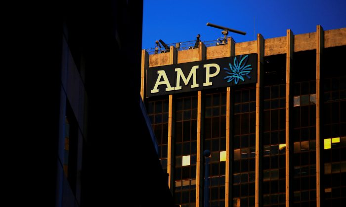 The logo of AMP Ltd, Australia's biggest retail wealth manager, adorns their head office located in central Sydney, Australia, May 5, 2017. (Reuters/David Gray/File Photo)