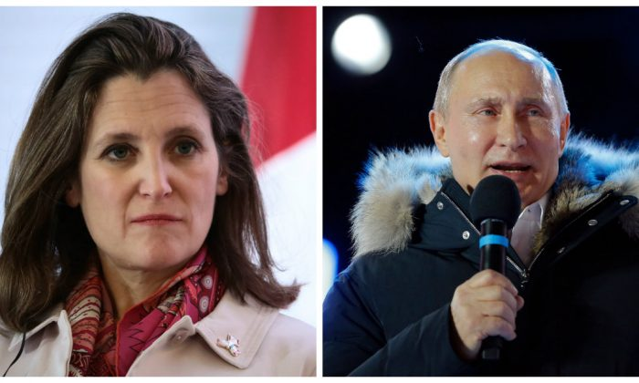Chrystia Freeland addresses the media at the Ministry of Foreign Affairs on February 2, 2018 in Mexico City. (Hector Vivas/Getty Images) / Vladimir Putin addresses the crowd during a rally and a concert celebrating the fourth anniversary of Russia's annexation of Crimea at Manezhnaya Square in Moscow on March 18, 2018. (Alexander Zemlianichenko/AFP/Getty Images)