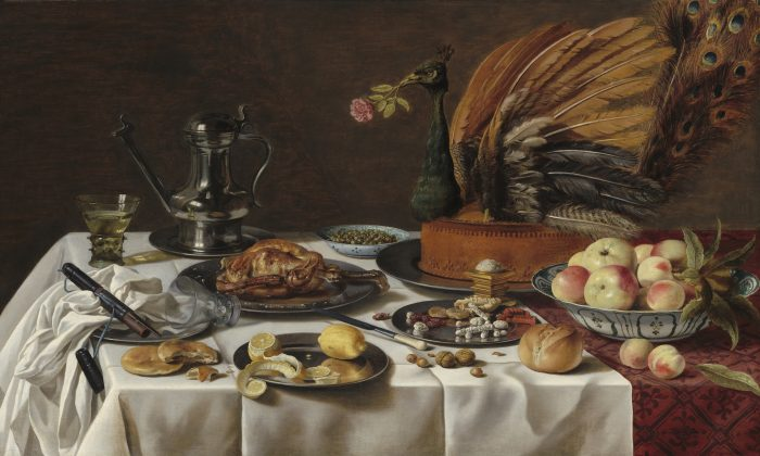 """""""Still Life with Peacock Pie"""" (1627) by Pieter Claesz. Oil on panel. (National Gallery of Art)"""