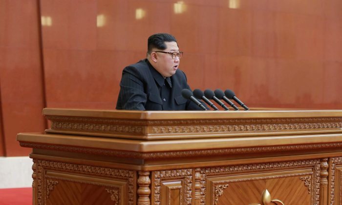 North Korean leader Kim Jong Un speaks during the Third Plenary Meeting of the Seventh Central Committee of the Workers' Party of Korea (WPK), in this photo released by North Korea's Korean Central News Agency (KCNA) in Pyongyang on April 20, 2018. (KCNA/via Reuters)