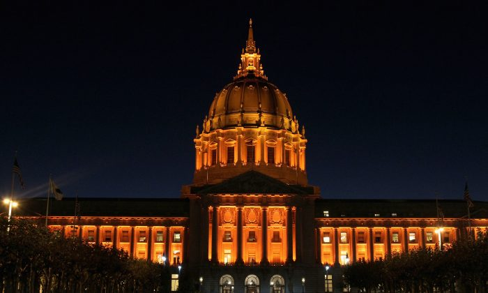 San Francisco city hall is seen illuminated with orange lights in honor of the San Francisco Giants winning the major league baseball National League Championship and advancing to the World Series on October 25, 2010 in San Francisco, California. Ritchie Greenberg seeks to serve as San Francisco's mayor, should the voters choose him in a special election on June 5, 2018. (Justin Sullivan/Getty Images)