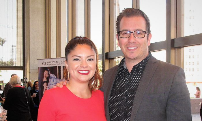 """Lena Gonzalez, Long Beach City councilwoman, and Adam Carrillo, economic development manager for downtown Long Beach, attended the Shen Yun matinée performance at the Long Beach Terrace Theater, in Long Beach, Calif., on April 22, 2018. """"It's beautiful, ... the range of classic dance that's introduced and showcased,"""" Mr. Carrillo said. (Yaning Liu/The Epoch Times)"""