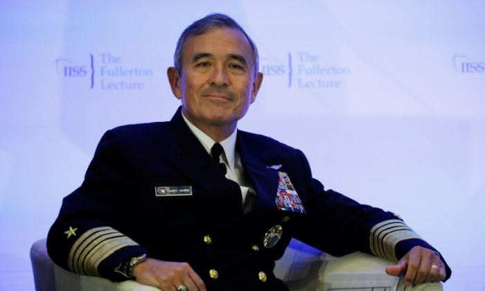 "U.S. Navy Admiral Harry Harris Jr, head of the Pacific Command, attends at a Fullerton Lecture on ""Challenges, Opportunities and Innovation in the Indo-Asia-Pacific"", in Singapore Oct. 17, 2017. (Reuters/Edgar Su)"