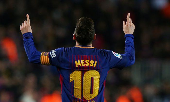 Barcelona's Lionel Messi celebrates scoring a  goal  against Leganes in Barcelona on April 7, 2018   (Reuters /Albert Gea)