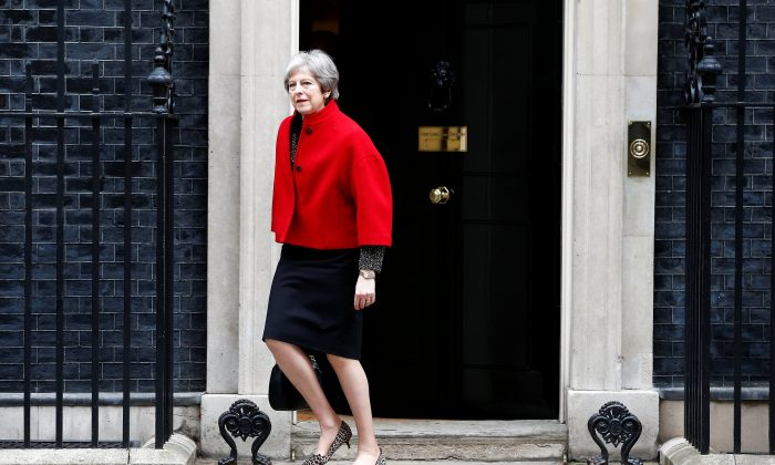 Britain's Prime Minister Theresa May leaves 10 Downing Street, London, April 24, 2018. (Reuters/Henry Nicholls)