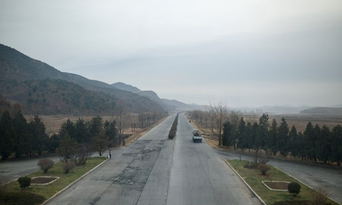 A section of the Pyongyang to Kaesong highway, where a recent deadly bus crash led to the deaths of 32 Chinese tourists, taken on November 30, 2016. (Ed Jones/AFP/Getty Images)