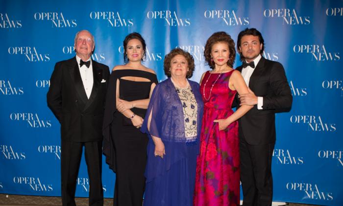 The 13th Annual Opera News award honorees: (L– R) William Christie, Sonya Yoncheva, Fiorenza Cossotto, Hei-Kyung Hong, and Vittorio Grigolo. (Dario Acosta Photography)