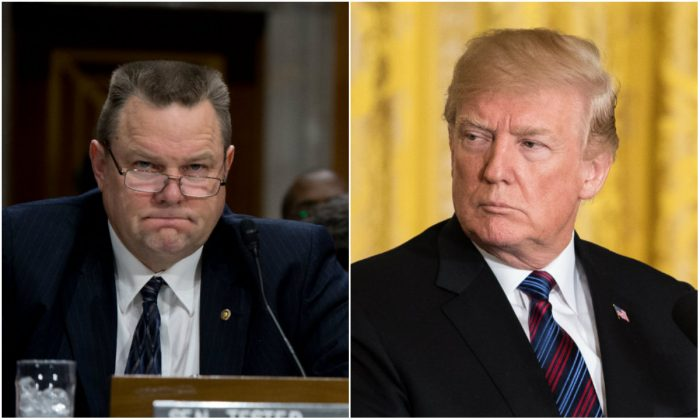 L: Senator Jon Tester on Capitol Hill in Washington, DC, on Jan. 28, 2014. (Nicholas Kamm/AFP/Getty Images): R: President Donald Trump in the East Room of the White House in Washington on April 3, 2018. (Samira Bouaou/The Epoch Times)