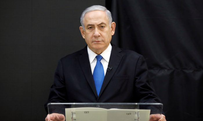Israeli Prime minister Benjamin Netanyahu speaks during a news conference at the Ministry of Defence in Tel Aviv, Israel, on Apr. 30, 2018. (Amir Cohen/Reuters)
