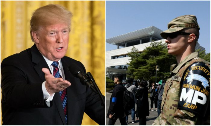 L: President Donald Trump in the East Room of the White House in Washington, DC, on April 3, 2018. (Samira Bouaou/The Epoch Times); R: A U.S. soldier in front of the Peace House at the South Korea-side of the the border village of Panmunjom between South and North Korea at the Demilitarized Zone on April 18, 2018. (Chung Sung-Jun/Getty Images)
