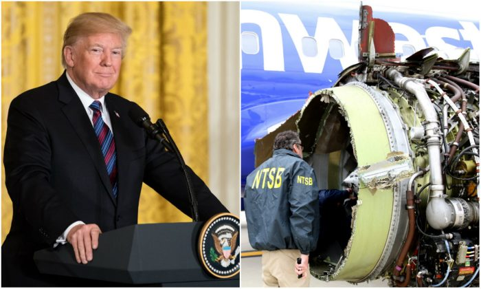 L: President Donald Trump in the East Room of the White House in Washington, DC, on April 3, 2018. (Samira Bouaou/The Epoch Times); R: NTSB investigators examine the CFM International 56-7B turbofan engine belonging to Southwest Airlines Flight 1380 at Philadelphia International Airport on April 17, 2018. (Keith Holloway/National Transportation Safety Board via Getty Images)