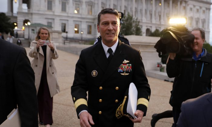 Dr. Ronny Jackson departs the U.S. Capitol in Washington, DC, on April 25, 2018. (Aaron P. Bernstein/Getty Images)
