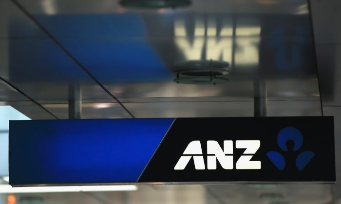 ANZ Bank signage is pictured on Auckland's Queen Street on Sept. 26, 2012 in Auckland, New Zealand. ANZ National, is expected to announce later today it will scrap the National brand and unions are looking for clarification on whether re-branding the bank will lead to job losses. (Phil Walter/Getty Images)