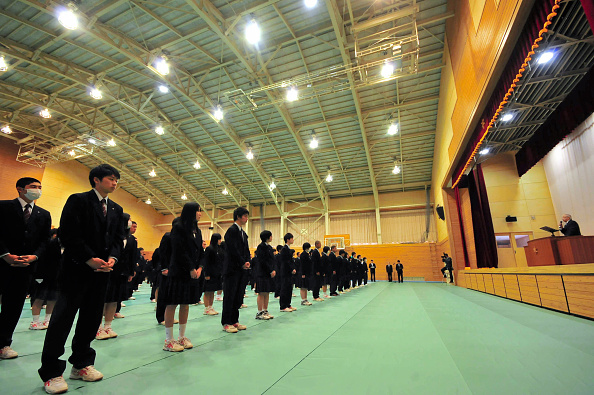 Students of Takata High School attend the new school building opening ceremony on April 8, 2015 in Rikuzentakata, Iwate, Japan. (The Asahi Shimbun via Getty Images)