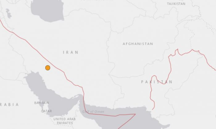 A magnitude 5.3 earthquake strikes southwest Iran on May 2, 2018. (USGS)