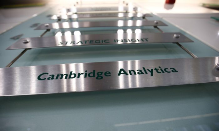 The nameplate of political consultancy, Cambridge Analytica, is seen in central London, Britain March 21, 2018.   (Reuters/Henry Nicholls)