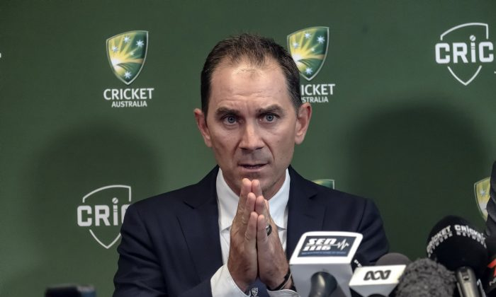 Justin Langer speaks to the media in Melbourne, Australia, May 3, 2018. (AAP/Luis Ascui/via Reuters)