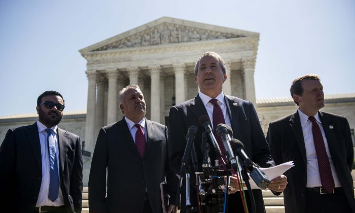 Texas Attorney General Ken Paxton outside the Supreme Court on Capitol Hill in Washington on June 9, 2016. (Gabriella Demczuk/Getty Images)