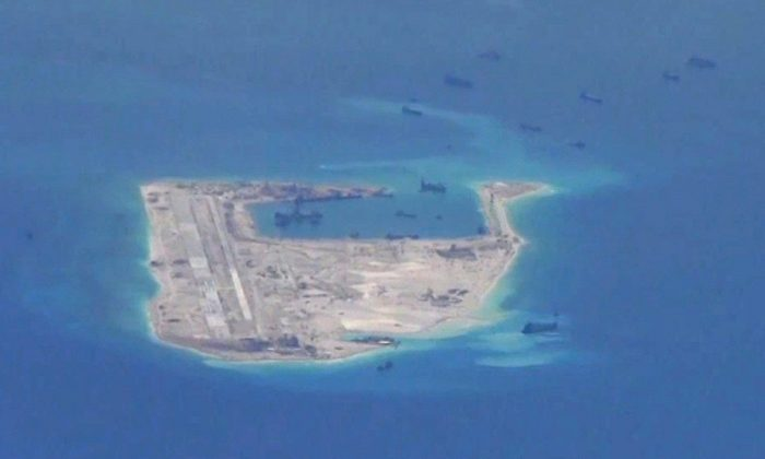 One of China's man-made islands in South China Sea, May 21, 2015. (U.S. Navy/Handout via Reuters)