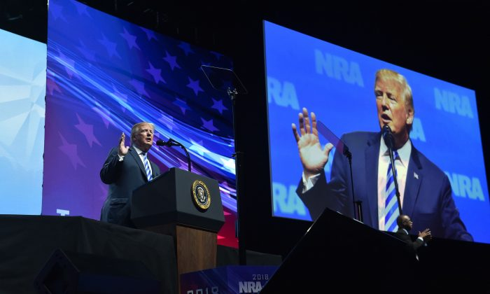 President Donald Trump speaks at the NRA-ILA Leadership Forum during the NRA Annual Meeting at the Kay Bailey Hutchison Convention Center in Dallas, Tex., on May 4, 2018. (Nicholas Kamm/AFP/Getty Images)