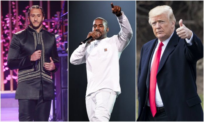 L-R: Football player Colin Kaepernick in Los Angeles on May 3, 2018. (Leon Bennett/Getty Images); Kanye West in New York City on Sept. 4, 2016. (Dimitrios Kambouris/Getty Images for Live Nation); President Donald Trump in Washington, D.C., on Jan. 1, 2018. (Samira Bouaou/The Epoch Times)