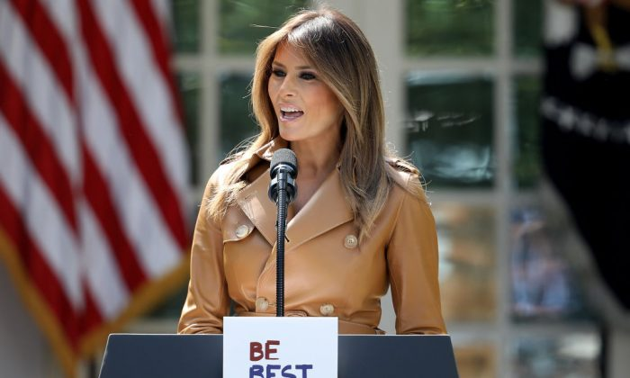U.S. First Lady Melania Trump speaks in the Rose Garden of the White House on May 7. (Win McNamee/Getty Images)