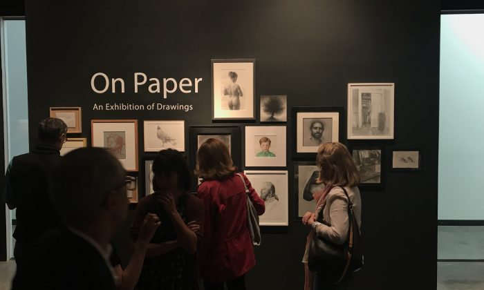 """The opening of """"On Paper, An Exhibition of Drawings"""" at The Florence Academy of Art - U.S. in Mana Contemporaery in Jersey City on April 29, 2018. (Milene Fernandez/The Epoch Times)"""