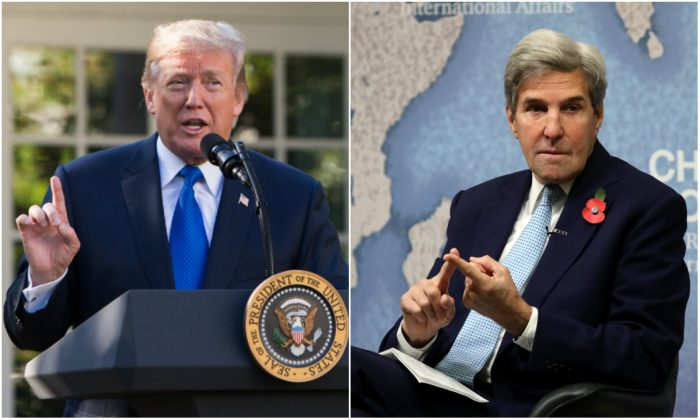 L: President Donald Trump in the Rose Garden of the White House in Washington, D.C., on Nov. 2, 2017. (Samira Bouaou/ The Epoch Times); R: Former U.S. Secretary of State John Kerry at Chatham House in London, England, on Nov. 6, 2017. (Dan Kitwood/Getty Images)