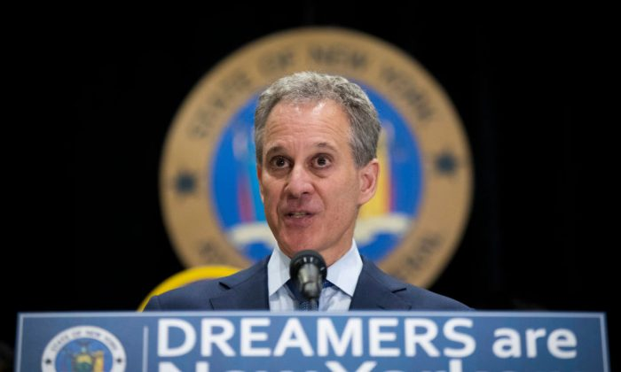 New York Attorney General Eric Schneiderman in  in New York City on Sept. 6, 2017. (Photo by Drew Angerer/Getty Images)