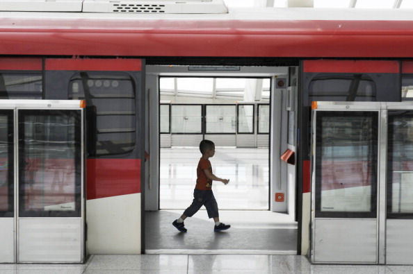 This picture taken on September 4, 2012 shows a boy walking in the subway train in Beijing. (WANG ZHAO/AFP/GettyImages)