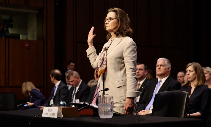 Gina Haspel, the nominee to lead the CIA, testifies before the Senate Intelligence Committee on May 9, 2018. (Samira Bouaou/Epoch Times)