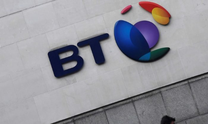 The logo for the British Telecom group is seen outside of offices in the City of London, Britain, Jan. 16, 2017. (Reuters/Toby Melville/File Photo)