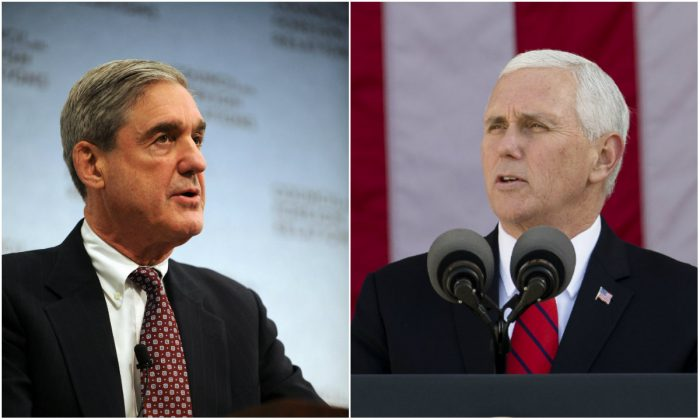 L: Then FBI Director Robert Mueller at the Council on Foreign Relations in Washington, D,C., on Feb. 23, 2009 (TIM SLOAN/AFP/Getty Images); R: Vice President Mike Pence at Arlington National Cemetery, Va., on Nov. 11, 2017. (Samira Bouaou/The Epoch Times)