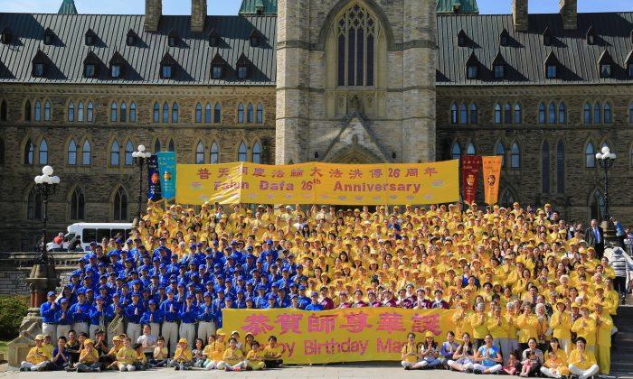 Falun Dafa adherents celebrate Falun Dafa Day on Parliament Hill in Ottawa on May 9, 2018. (Jonathon Ren/The Epoch Times)