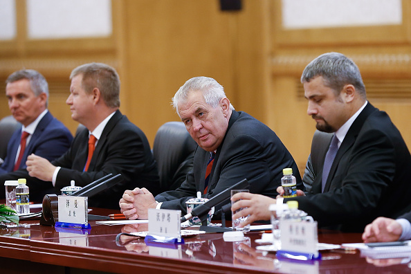 Czech President Milos Zeman (2nd-R) at The Great Hall Of The People in Beijing, China, on Sept. 4, 2015. (Lintao Zhang/Getty Images)