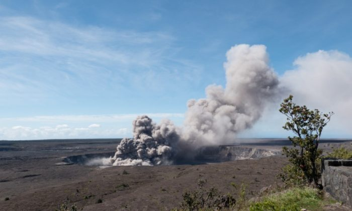 An ash plume rises from the Overlook Vent in Halema'uma'u crater in Hawaii on May 11, 2018.  (USGS/Handout via REUTERS)