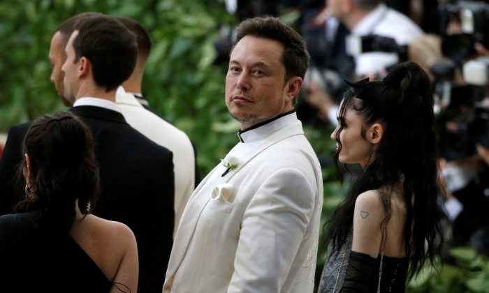 "Elon Musk arrives at the Metropolitan Museum of Art Costume Institute Gala (Met Gala) to celebrate the opening of ""Heavenly Bodies: Fashion and the Catholic Imagination"" in the Manhattan borough of New York on May 7, 2018. (REUTERS/Brendan McDermid)"