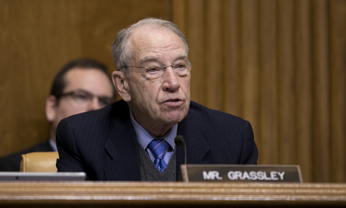 Sen. Chuck Grassley (R-Iowa) at a budget committee hearing on the president's FY19 budget in Washington, on Feb. 13, 2018. (Samira Bouaou/The Epoch Times)